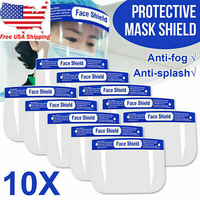 10 PACK Safety Full Face Shield Clear Protector Work Industry Dental Anti-Fog