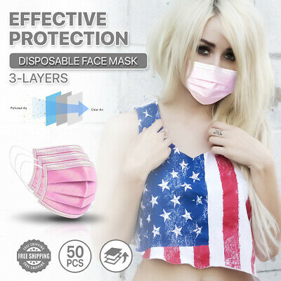 [Pink] 50pc Disposable Face Masks 3-Ply Non Medical Surgical Earloop Mouth Cover