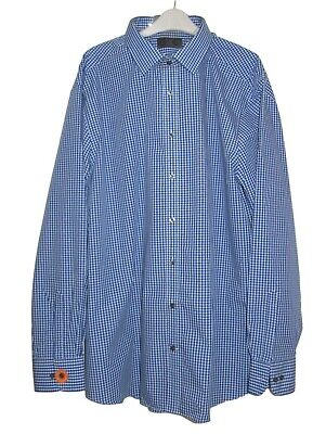 """Mens blue checked tailored fit shirt by M&S 19"""" collar - 54"""" chest BNWT"""