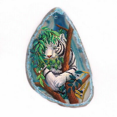 Color Printing Wolf Agate Gemstone Pendant Necklace Y1901 0238