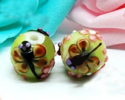 Mutant Dragonfly Mutant Moth Frosted Handmade Lampwork Bead Set