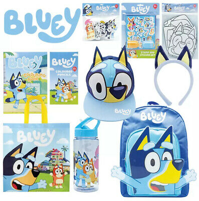 Bluey - Full Size Backpack, 90 Stickers, Lunch & Tote Bag, Sunglasses, Headband+