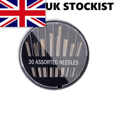 Assorted Hand Sewing Needles 30 - Embroidery Craft Quilt Mending Sew - UK SELLER