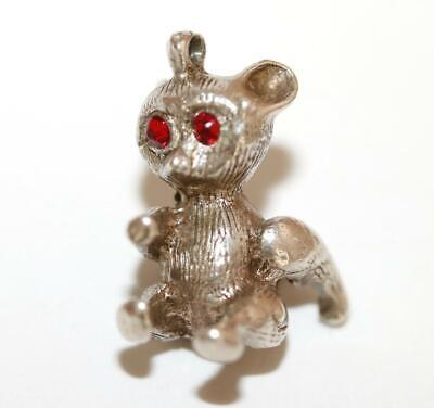 Sterling Silver 3D Seated Teddy Bear With Bow Tie Charm