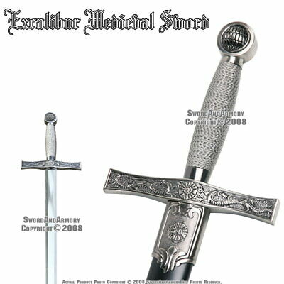 "35"" Excalibur Medieval Crusader Knight Arming Sword with Sheath Costume"