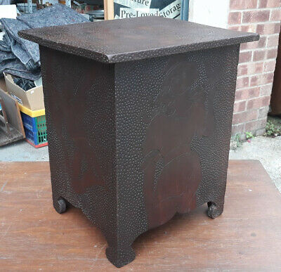 Naive Early 20th Century Mahogany Storage Box Carved In An Art Nouveau Style