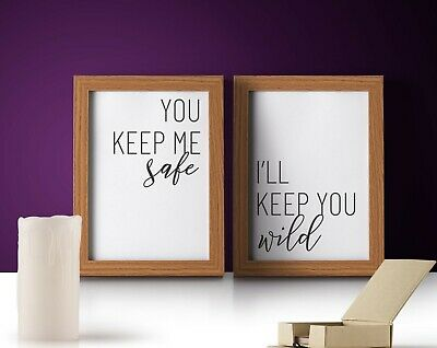 Home Furniture Diy Safe Wild Bedroom Quotes Poster Set 2 Print Wall Art Home Framed Decor Couple Home Decor