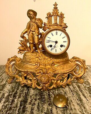 Late 19thC Antique French Gilded Metal Mantel Clock