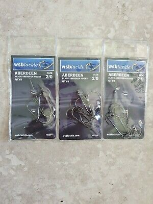 FAST POST WSB Tackle strong sharp Black Aberdeen Fishing Hooks Choice of Size