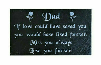 Personalised Engraved Slate Memorial Grave Marker Headstone Plaque ANY NAME DAD
