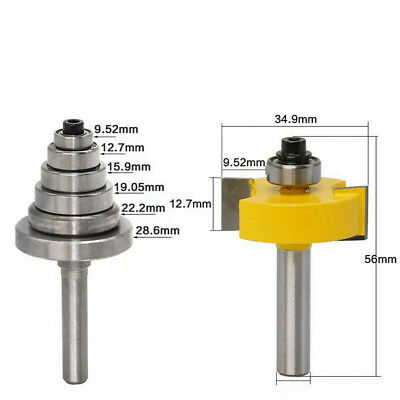 """1//2/"""" or 1//4/"""" Shank Wood Solid 1//2/"""" H Rabbet Router Bits with 7 Bearings Set"""