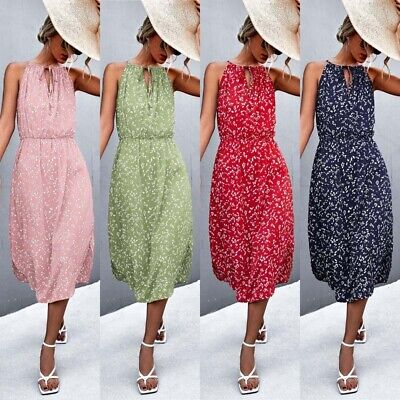 UK Womens Sleeveless Spotted Summer Sundress Ladies Baggy Party Mini Dress Lady