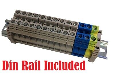 DINKLE 2.5MM DIN RAIL TERMINAL PACK 10 X EARTH /& 200mm SLOTTED DIN RAIL