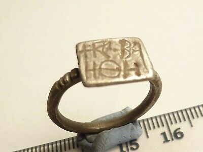 7140Medieval silver signet ring with letters 3.7g 19mm