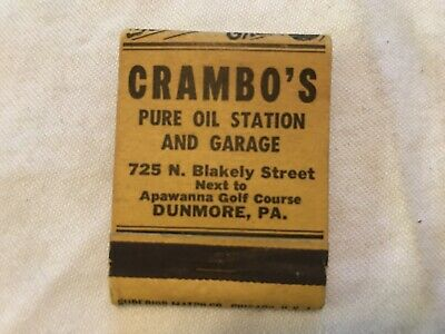 CRAMBO'S Pure Oil Station And Garage Vintage Match Book, Dunmore, Pa.