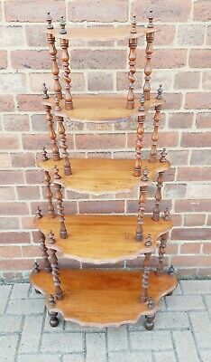Victorian 5 Tier Mahogany Waterfall Whatnot Stand Barley Twist Turned Supports