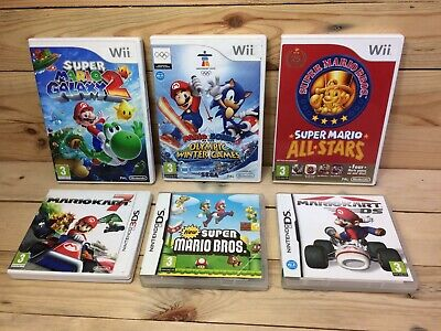 Empty Mario Game Boxes/Cases Manuals Only Bundle Nintendo Wii + DS No Games