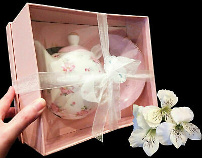 Gracies Teaware Porcelain Fine Bone China Pink Roses 3Pc Tea Pot-New In Gift Box