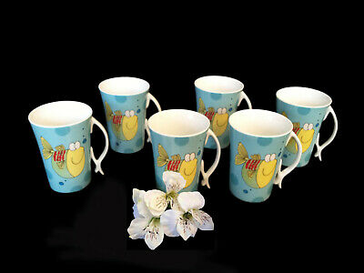 Nice Teaware Porcelain Fine Bone China Blue Aqua Fishes 6 Pc Tea Set Mugs , New!