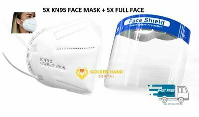 5x KN95 Face Mask Disposable 5 Layers Anti Virus Infection + 5 Face Shield Set
