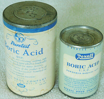 Vintage Pair Powdered Boric Acid Containers 2 & 4 oz Metal Tops & Bottoms Rexall