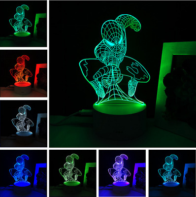 3D Spiderman LED illusion Light Night 7 Color Touch Switch
