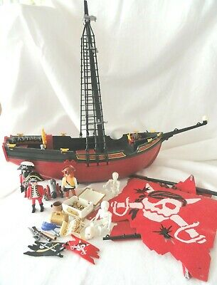 Long w// System X Connector 4424 5736 Playmobil Pirate Ship Red Furled Sail