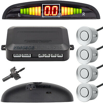 LED Car Rear Reverse 4 Parking Sensors Reversing Buzzer Audio Alarm Kit Silver