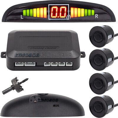 LED Car Rear Reverse 4 Parking Sensors Reversing Buzzer Audio Alarm Kit White