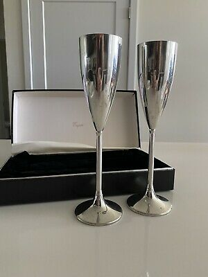 Empire Pewter Champagne Flutes Set Of 2 In Original Box