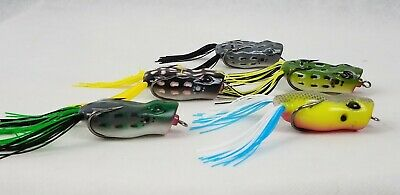 """10ct WATERMELON GOLD 4/"""" BUZZ FROGS Bass Fishing Lures Soft Plastic Topwater Bait"""