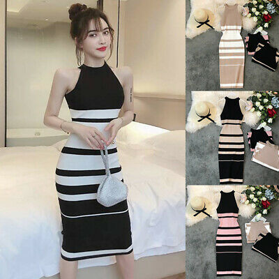 Women Casual Sleeveless Striped Knitted Summer Slim Fashion Evening Party Dress