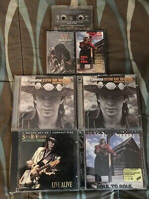 SRV Stevie Ray Vaughan Music CD's Lot Bundle of 7 Items Discs & Cassette Tapes