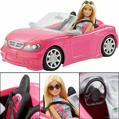 Barbie Doll with Convertible Pink Sports Car Playset Mattel Age 3+ Toy Soft Top