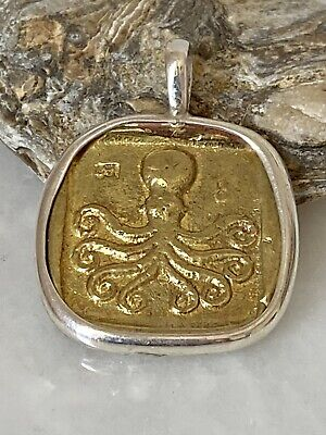 Ancient Inspired Coin Octopus Mythology Handmade Unique Sterling silver