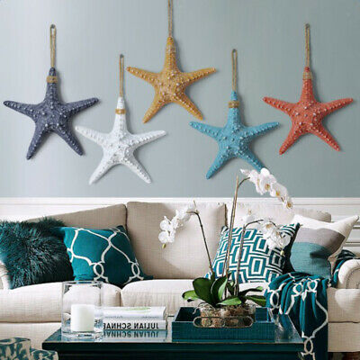 Resin Hanging Starfish Tropical Wedding Ornament Nautical Wall Decor Blue