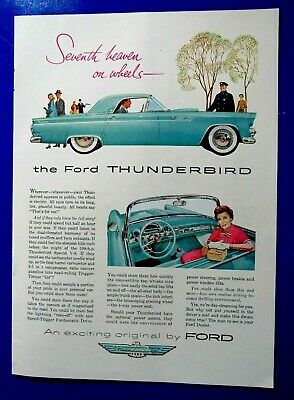 1956 Ford Thunderbird  Convertible /& Hard Top  Original Print Ad 8.5 x 11 /""