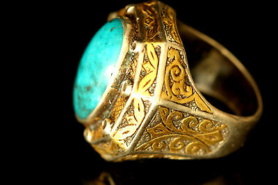 Antique Seljuk Replica Sterling Silver Ring, Persian Turquoise, Gold Overlead,