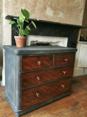 "Beautiful Victorian Mahogany ""French Painted"" French linen grey Chest Of Drawers"