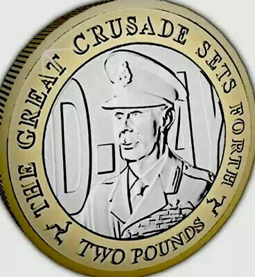Isle Of Man Coin 2£ Pounds 2019 D Day Victory King George 2nd New UNC Manx