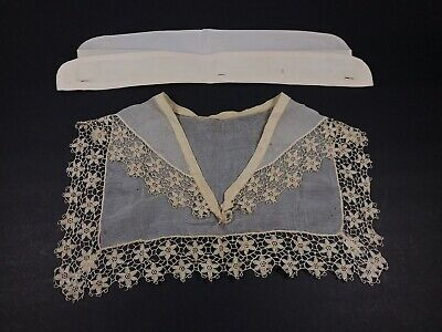 White and Ivory Cotton Silk Floral Lace Antique Edwardian Collar