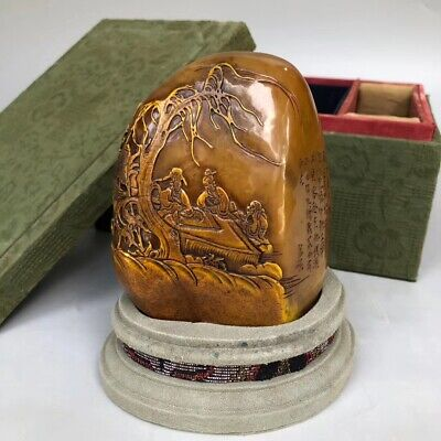 4.2'' China antique seal Tianhuang Shoushan Stone seal old man Pine LLL