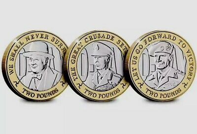 Isle Of Man Coins Set 3x 2£ Pounds 2019 D Day Montgomery Churchill George 2nd UN