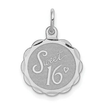 Solid 925 Sterling Silver Sweet Sixteen Disc Charm Pendant 29mm x 19mm