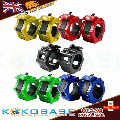 """2/"""" Olympic Spinlock Collars Barbell Dumbell Clips Clamp Weight Bar Locks Tool UK"""