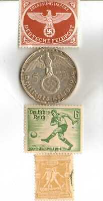 #-9)-1936-*german  Olympic and WWII stamps/coin(.900%)+1896-*greek Olympic stamp