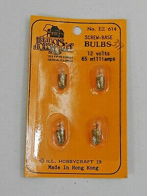 E-Z ELECTRIC SCREW IN BASE BULBS 3 VOLTS-100 MILLIAMERES NEW EZ613 VINTAGE