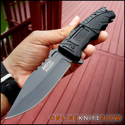 MTECH TACTICAL BLACK SPRING ASSISTED OPEN KNIFE Rescue Folding Pocket Blade NEW!