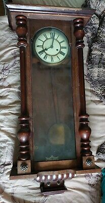 Tall Vienna German wall clock, requires refurbishing on case.
