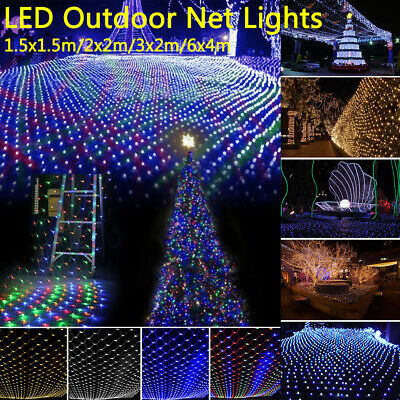 LED String Fairy Net Lights Curtain Mesh Christmas Party Outdoor Indoor Decor UK